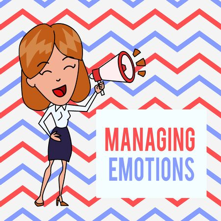 Writing note showing Managing Emotions. Business concept for Controlling feelings in oneself Maintain composure Young Woman Speaking in Blowhorn Colored Backgdrop Text Box Stok Fotoğraf