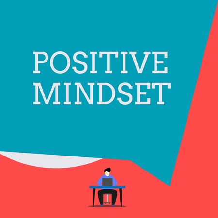 Writing note showing Positive Mindset. Business concept for mental and emotional attitude that focuses on bright side Man sitting chair desk working laptop geometric background