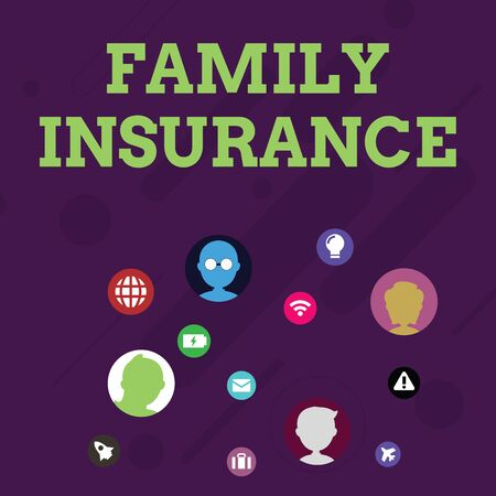 Word writing text Family Insurance. Business photo showcasing paying a partial or full health care for relatives Networking Technical Icons with Chat Heads Scattered on Screen for Link Up Фото со стока