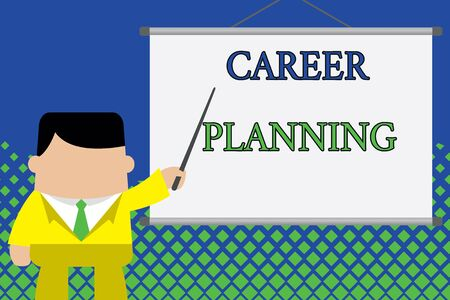 Writing note showing Career Planning. Business concept for Strategically plan your career goals and work success Businessman standing in front projector screen pointing project idea Foto de archivo - 124655951