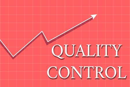Conceptual hand writing showing Quality Control. Concept meaning insure that product or service sold due to standards Crook White Progress Arrow with Shadow Quadrille Background