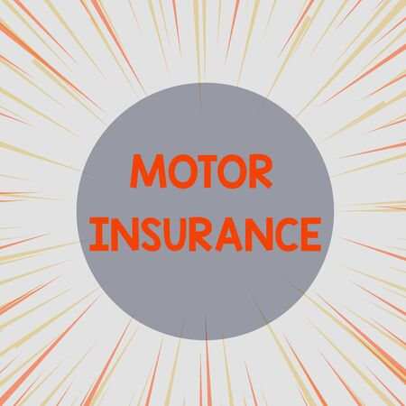 Word writing text Motor Insurance. Business photo showcasing Provides financial compensation to cover any injuries Sunburst Explosion Yellow Orange Pastel Rays Beams Depth and Perspective