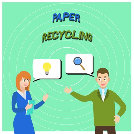 Conceptual hand writing showing Paper Recycling. Concept meaning Using the waste papers in a new way by recycling them Business Partners Colleague Jointly Seeking Problem Solution Stock Photo - 124655992