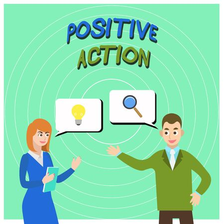 Conceptual hand writing showing Positive Action. Concept meaning doing good attitude against certain situation Fine reaction Business Partners Colleague Jointly Seeking Problem Solution