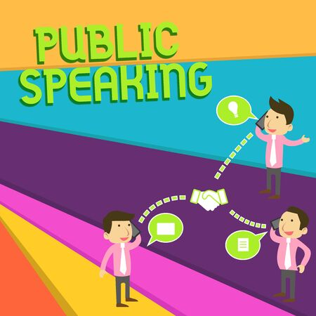 Handwriting text Public Speaking. Conceptual photo talking showing stage in subject Conference Presentation Businessmen Coworkers Conference Call Conversation Discussion Mobile Phones