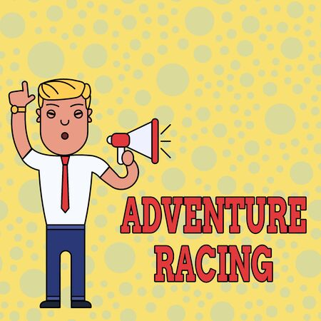 Writing note showing Adventure Racing. Business concept for disciplinary sport involving navigation over unknown course Man Standing with Raised Right Index Finger and Speaking into Megaphone Reklamní fotografie