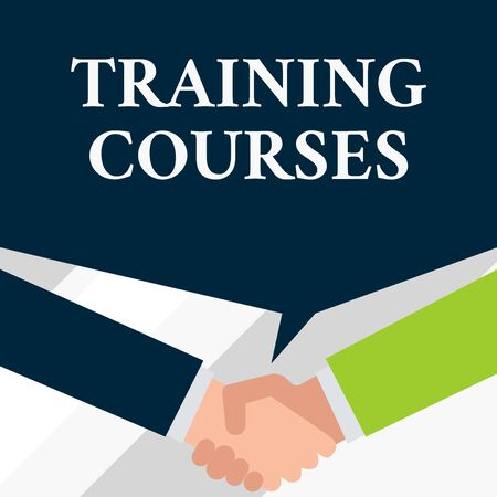 Conceptual hand writing showing Training Courses. Concept meaning is series of lessons or lectures teaching skills you need Two men hands shaking showing a deal sharing speech bubble Imagens