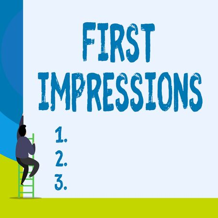 Word writing text First Impressions. Business photo showcasing What a demonstrating thinks of you when they first meet you Back view young man climbing up staircase ladder lying big blank rectangle