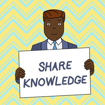Text sign showing Share Knowledge. Business photo text teaching others what I learnt before Giving lectures Smiling Man Holding Formal Suit Big Blank Poster Board in Front of Himself Foto de archivo - 124656014