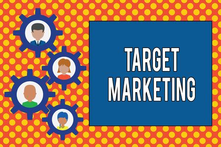 Text sign showing Target Marketing. Business photo showcasing Audience goal Chosen clients customers Advertising Gearshaped picture frame family ornament mother father daughter son photo