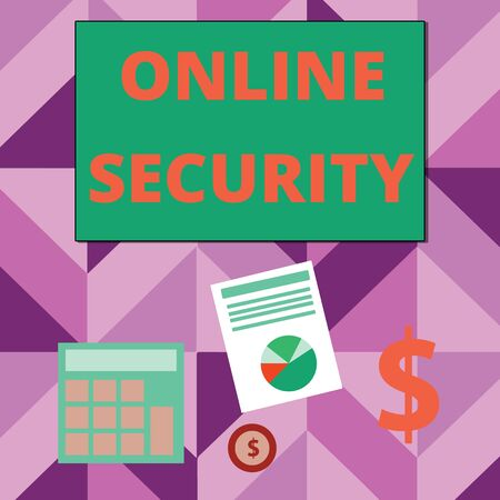 Writing note showing Online Security. Business concept for rules to protect against attacks over the Internet Dollar Investment in Gold and Presenting Data thru Pie Chart