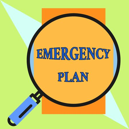 Handwriting text Emergency Plan. Conceptual photo Procedures for response to major emergencies Be prepared Round magnifying glass with iron handle frame to make object look bigger