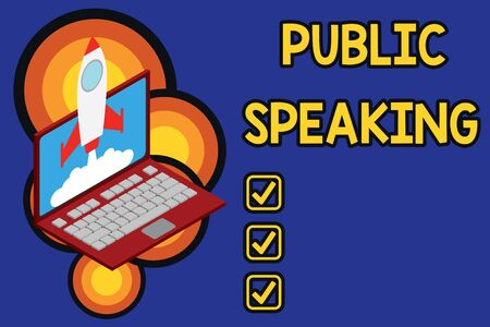 Writing note showing Public Speaking. Business concept for talking showing stage in subject Conference Presentation Rocket launching clouds laptop background. Startup project growing. SEO