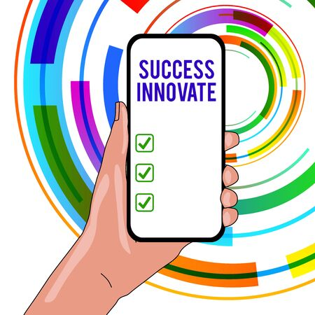 Handwriting text writing Success Innovate. Conceptual photo make organizations more adaptive to market forces Closeup of Smartphone Device Held in Hand with Empty Screen and Text Space Stockfoto