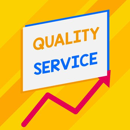 Conceptual hand writing showing Quality Service. Concept meaning how well delivered service conforms to clientexpectations Blank rectangle above another zigzag upwards increasing sale