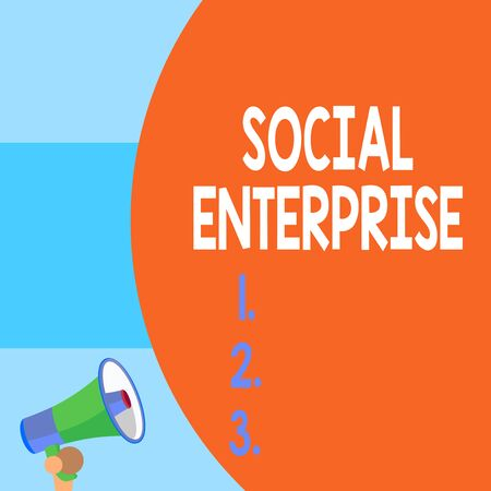 Handwriting text writing Social Enterprise. Conceptual photo Business that makes money in a socially responsible way Half part blank huge balloon empty text with small megaphone. Announcement Stockfoto