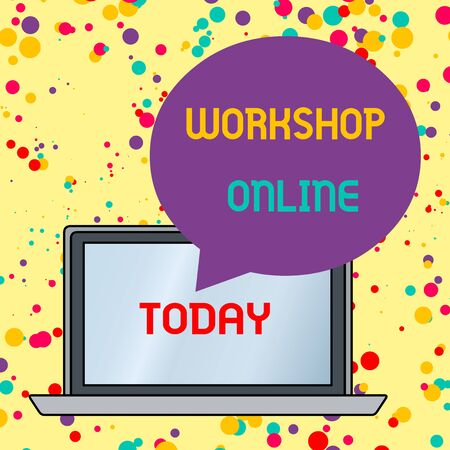 Text sign showing Workshop Online. Business photo text room or building in which goods are analysisufactured repaired Round Shape Empty Speech Bubble Floating Over Open Laptop Colored Backdrop Foto de archivo - 124656090