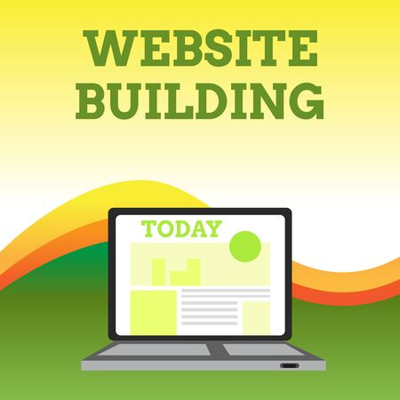 Text sign showing Website Building. Business photo showcasing tools that typically allow the construction of pages Open Modern Laptop Switched On with Website Homepage on Screen Web Search Foto de archivo - 124656096