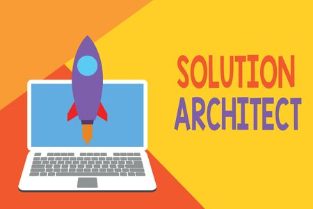 Text sign showing Solution Architect. Business photo showcasing Design applications or services within an organization Launching rocket up laptop . Startup project. Developing goal objectives 版權商用圖片 - 124656162