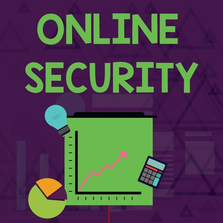Writing note showing Online Security. Business concept for rules to protect against attacks over the Internet Investment Icons of Pie and Line Chart with Arrow Going Up