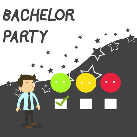 Text sign showing Bachelor Party. Business photo text Party given for a analysis who is about to get married Stag night White Male Questionnaire Survey Choice Checklist Satisfaction Green Tick