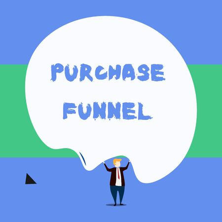 Text sign showing Purchase Funnel. Business photo showcasing consumer model which illustrates customer journey Front view standing man dressed suit tie two hands up big deflated balloon 版權商用圖片