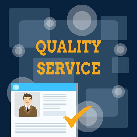 Writing note showing Quality Service. Business concept for how well delivered service conforms to clientexpectations Curriculum Vitae Resume of Candidate Marked by Color Mark Foto de archivo - 124656229