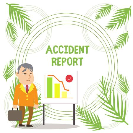 Handwriting text writing Accident Report. Conceptual photo A form that is filled out record details of an unusual event Businessman Clerk with Brief Case Standing Whiteboard Declining Bar Chart