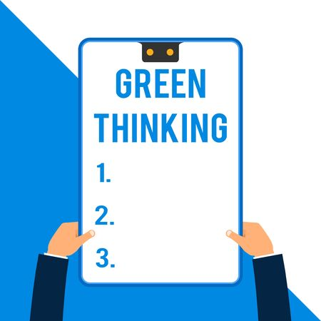 Word writing text Green Thinking. Business photo showcasing Taking ction to make environmental responsibility a reality Two executive male hands holding electronic device geometrical background Фото со стока