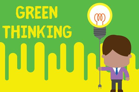 Handwriting text Green Thinking. Conceptual photo Taking ction to make environmental responsibility a reality Standing man tie holding plug socket light bulb to connect idea. Startup