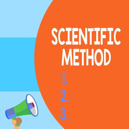 Handwriting text writing Scientific Method. Conceptual photo Principles Procedures for the logical hunt of knowledge Half part blank huge balloon empty text with small megaphone. Announcement