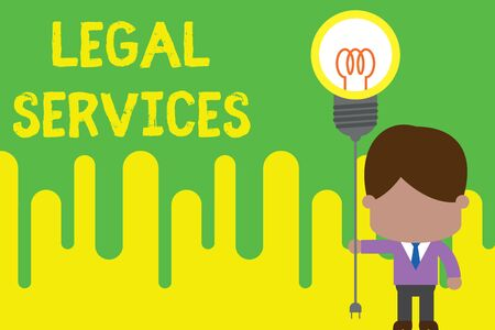 Handwriting text Legal Services. Conceptual photo Providing access to justice Fair trial Law equality Standing man tie holding plug socket light bulb to connect idea. Startup