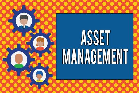 Text sign showing Asset Management. Business photo showcasing systematic process of operating and disposing of assets Gearshaped picture frame family ornament mother father daughter son photo