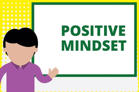 Text sign showing Positive Mindset. Business photo text mental and emotional attitude that focuses on bright side Young man standing in front whiteboard pointing to project. photo Art Фото со стока