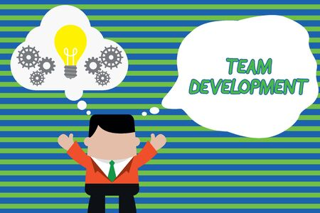 Handwriting text Team Development. Conceptual photo learn why and how small groups change over time with graphs Standing man suit hands up imaginary bubble light bulb gears working together