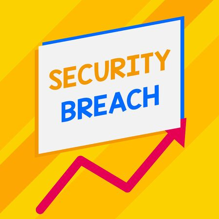 Conceptual hand writing showing Security Breach. Concept meaning incident that results in unauthorized access of data Blank rectangle above another zigzag upwards increasing sale Banco de Imagens
