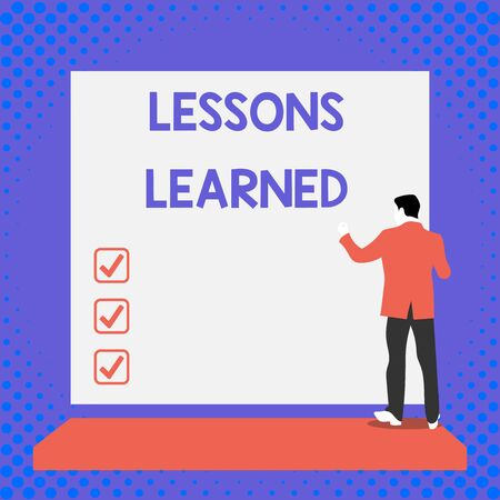 Text sign showing Lessons Learned. Business photo text information reflects positive and negative experiences Back view young man dressed suit standing platform facing blank rectangle Banco de Imagens - 124657007