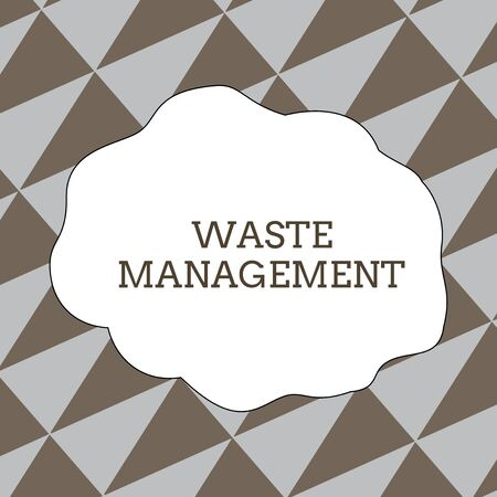 Writing note showing Waste Management. Business concept for actions required analysisage rubbish inception to final disposal Seamless Isosceles Triangles Diagonally Gray and Brown Alternate Color