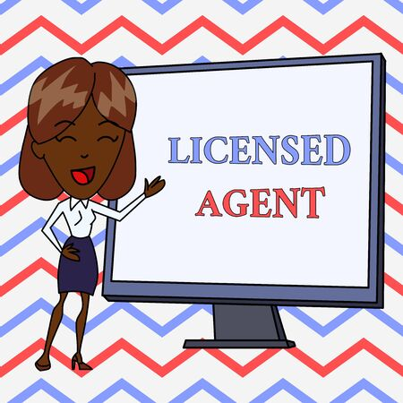 Conceptual hand writing showing Licensed Agent. Concept meaning Authorized and Accredited seller of insurance policies White Female in Standing Pointing Whiteboard Presentation Banco de Imagens - 124657027