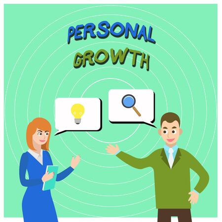Conceptual hand writing showing Personal Growth. Concept meaning improve develop your skills qualities Learn new materials Business Partners Colleague Jointly Seeking Problem Solution