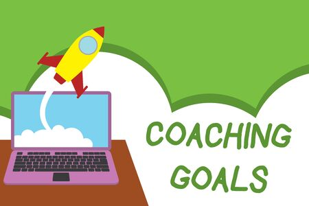 Text sign showing Coaching Goals. Business photo showcasing Empowers individuals Encourages them to take responsibility Successful rocket launching clouds out laptop background. Startup growing Фото со стока