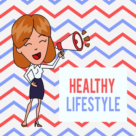 Writing note showing Healthy Lifestyle. Business concept for Live Healthy Engage in physical activity and exercise Young Woman Speaking in Blowhorn Colored Backgdrop Text Box