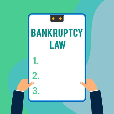 Conceptual hand writing showing Bankruptcy Law. Concept meaning Designed to help creditor in getting the asset of the debtor Two executive male hands electronic device geometrical background