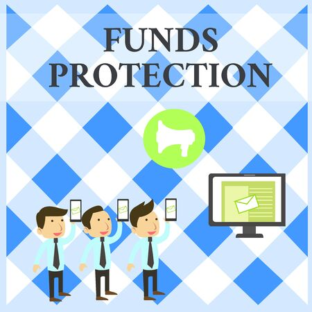 Text sign showing Funds Protection. Business photo showcasing promises return portion initial investment to investor. SMS Email Marketing Media Audience Attraction Personal Computer Loudspeaker
