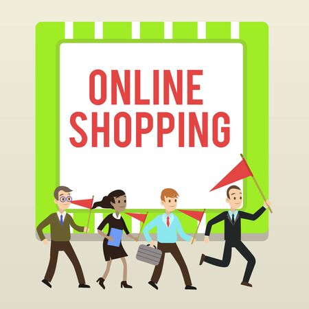 Handwriting text writing Online Shopping. Conceptual photo allows consumers to buy their goods over the Internet People Crowd Flags Pennants Headed by Leader Running Demonstration Meeting Фото со стока