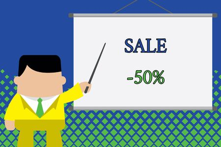 Writing note showing Sale 50 Percent. Business concept for A promo price of an item at 50 percent markdown Businessman standing in front projector screen pointing project idea