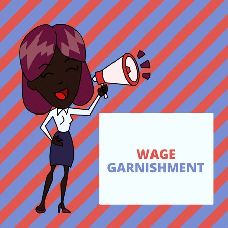 Writing note showing Wage Garnishment. Business concept for Deducting money from compensation ordered by the court Young Woman Speaking in Blowhorn Colored Backgdrop Text Box Фото со стока