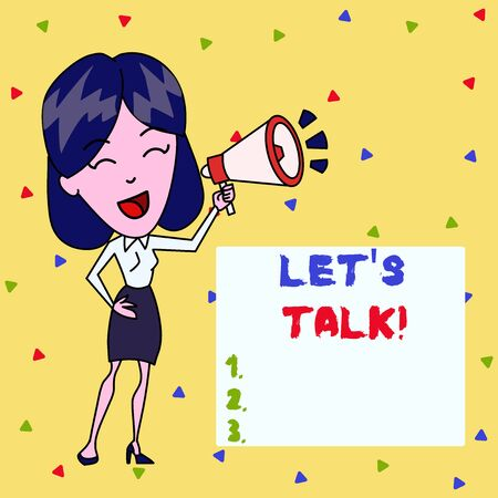 Text sign showing Lets Talk. Business photo showcasing suggesting in the beginning of a conversation on the topic Young Woman Speaking into Blowhorn Volume Icon Colored Backgdrop Text Box