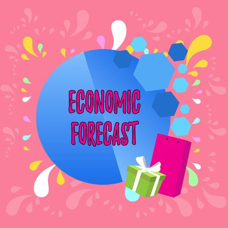 Word writing text Economic Forecast. Business photo showcasing Process of making predictions about the economy condition Greeting Card Poster Gift Package Presentation Box Decorated by Bowknot