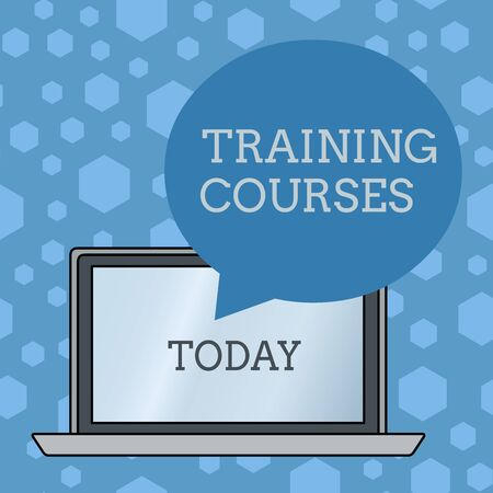 Word writing text Training Courses. Business photo showcasing is series of lessons or lectures teaching skills you need Round Shape Empty Speech Bubble Floating Over Open Laptop Colored Backdrop